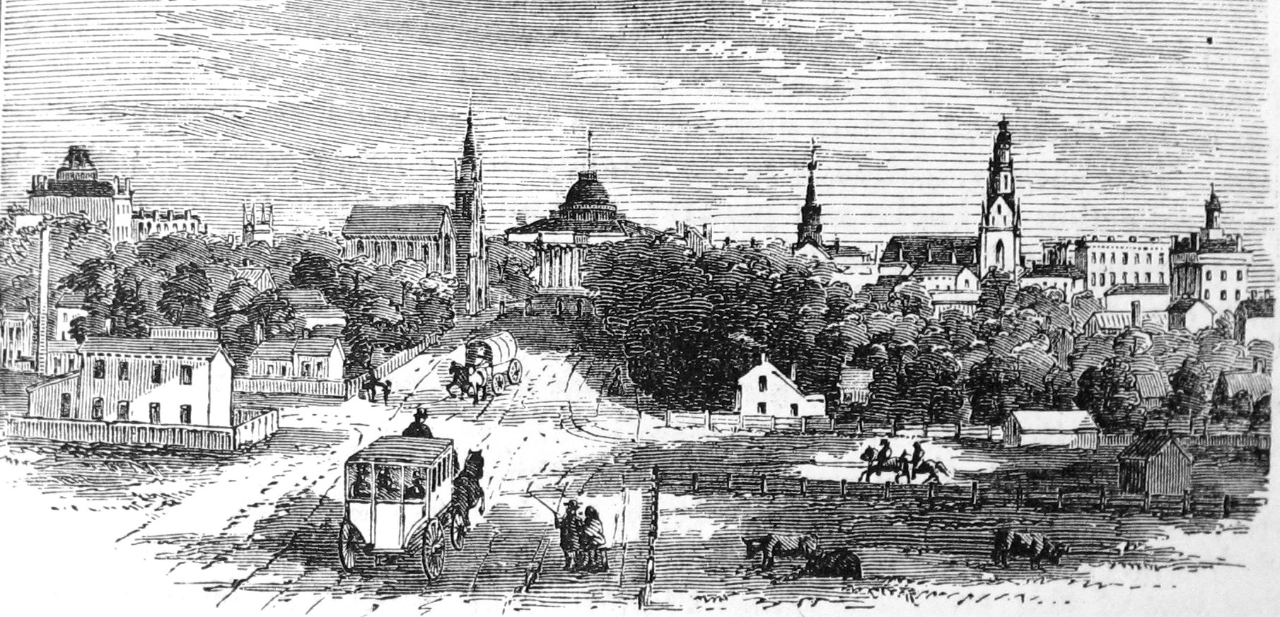 View of downtown and the Capitol from Washington Avenue, 1865
